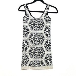 FREE PEOPLE V-Neck Geo Ribbed Stretch Tank Top Med